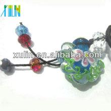 colgante de botella de perfume de flor de vidrio de estilo murano con la tapa de madera