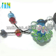 murano style glass flower perfume bottle pendant with the wood cap