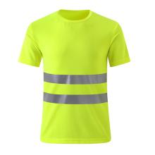 Breathable billige Sicherheit T-Shirt mit zwei reflektierenden Streifen