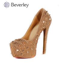 Красивые Хрустальные бусины на высоких каблуках Кристалл высокий каблук свадебные туфли и сумка комплект