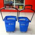 Supermarket Oval Shape Shopping Rolling Wheel Plastic Basket
