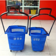 Supermarket Oval Shape Shopping Rolling Wheel Plastic Basket