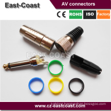 "Quality 1/4"" 6.35MM Mono JACK Audio PLUG Gold Tip"
