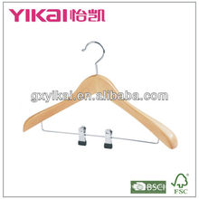 2013 hot sell wooden coat hanger with metal clips