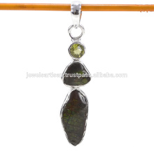 Latest Design Ammolite And Peridot Gemstone 925 Sterling Silver Pendant Jewelry