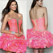 Sequin Beading Sweetheart Ball Gown Mini jupe à manches courtes Graduation Dress Homecoming Gown