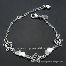 La plata caliente de la manera de la venta plateó la pulsera con el colgante BSS-007 del corazón