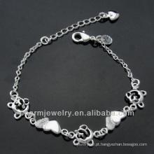 A prata quente da forma da venda chapeou o bracelete com o pendente BSS-007 do coração