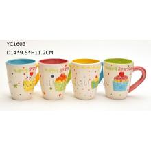 Jogo de caneca de café pintado mão cerâmica