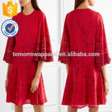 Surdimensionné Imprimé Soie Rouge Trois-quarts Longueur Manches Mini Robe D'été Fabrication En Gros Mode Femmes Vêtements (TA0028D)
