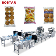 Bostar Auto Flow Burger Bread Hamburger Packing Machine