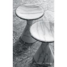 Mesa redonda de mármol blanco