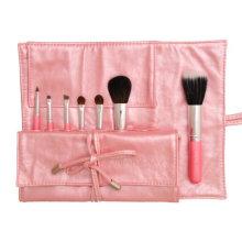 Hot vendendo rosa escova de maquiagem 7pcs com cabelo natural