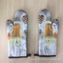 Printed kitchen European style cotton & polyester gloves