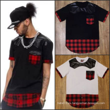 Hip Hop Man Ffashion Plaid Camisa Casual Patch PU Cuero