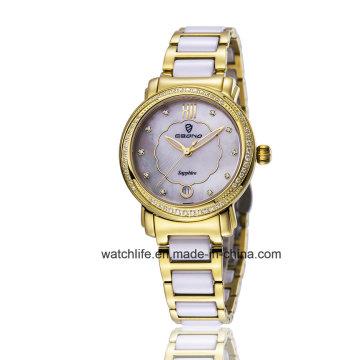 Art- und Weisediamant-Quarz-Edelstahl-Damen-Armbanduhr