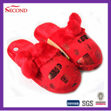 Chinese Style Wedding Slippers with Gold Stamping