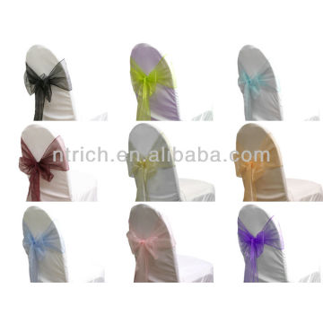faixa de cadeira de organza de cristal moda gravata, gravata borboleta, nó, tampa da cadeira casamento e toalha de mesa
