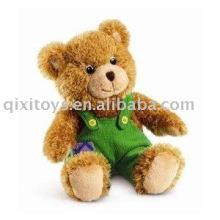 teddybear de pelúcia e recheado com macacão, brinquedo de bebê menino macio