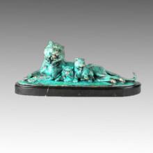 Animal Bronze Sculpture Tiger Family Deco Brass Statue Tpal-260