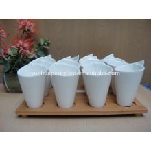 2015 new porcelain white ceramic mug set with bamboo base