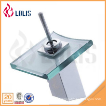 Chrome single lever basin sink led glass waterfall faucet