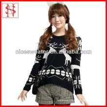 long sleeves jacquard black girl Christmas sweater