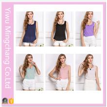 2016 Plus Size Girl′s Fashion Candy Colors Chiffon Vest