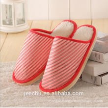 Autumn and winter new stripes home cotton slippers men and women couple indoor t slippers wholesale