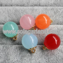 19MM&24MM Acrylic Round Beads Pendants With Gold Loop