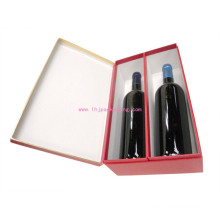 Luxury Two Bottle Wine Packaging Gift Paper Box with Foil Stamping