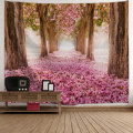Sakura Road Tapestry Big Tree Pole Cherry Blossoms Wall Hanging Nature Style Flower 3D Print Romantic Tapestry for Living Room Be