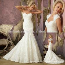 NY-2421 Vestido de noiva de renda com chaveiro removível com renda
