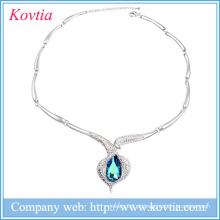 Fancy colar de corrente grossa colar de ouro branco banhado a jóia pedra azul colares