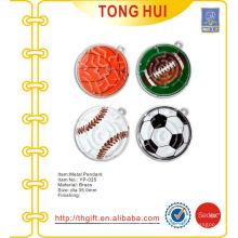 Diferentes esportes, gravura, bola, logotipo, pingentes, metal