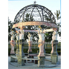 Outdoor Marble Statue Garden Gazebo with Antique Stone Sculpture (GR035)