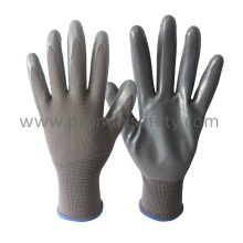 3G Grey Polyester Knitted Gloves with Grey Smooth Nitrile Palm Coated