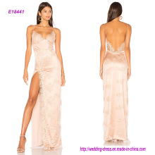 Сексуальная милая декольте спагетти спинки Шелковый коктейльное платье с высокой открытой стороне сплит