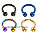 Fancy Horseshoes16G Gold Plated Steel Circular Barbells