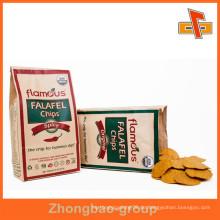 Food Grade Grease Proof Customized Flat Bottom Kraft Papier Tasche Tasche für Chips