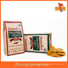 Food Grade Grease Proof Customized Flat Bottom Kraft Paper Pouch Bag For Chips