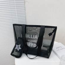 New Style Mesh Shoulder Bag Large-Capacity Mother and Child Bag Printed Letters Beach Bag Female Bag