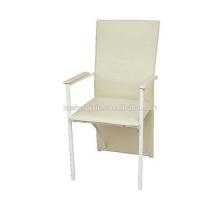 Poltrona de encosto branco, cadeira de jantar em metal PVC para o hotel