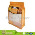 Bolso de la parte inferior cuadrada plana del bloque de empaquetado plástico del escudete del lado de la categoría alimenticia de la impresión de encargo con la ventana