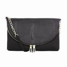 Black Snakeskin Panel Flap Across Body Bag