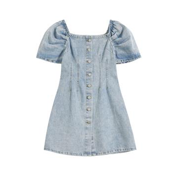 Plus Size Demin Botton Bow Short Sleeve Dress