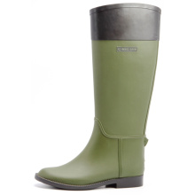 Brown And Olive Green Women Riding Rubber Boots