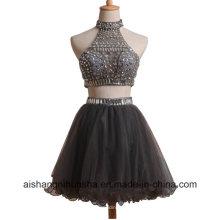 Duas peças mini-line curto com frisado vestido de baile