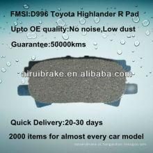 D996 alta performance cerâmica freio pad para Toyota Highlander