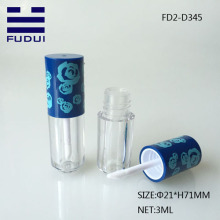 Mini plastic lipgloss tube with blue pattern